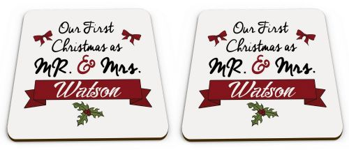 Pair Of Personalised Our First Christmas As Mr & Mrs... Novelty Glossy Mug Coaster